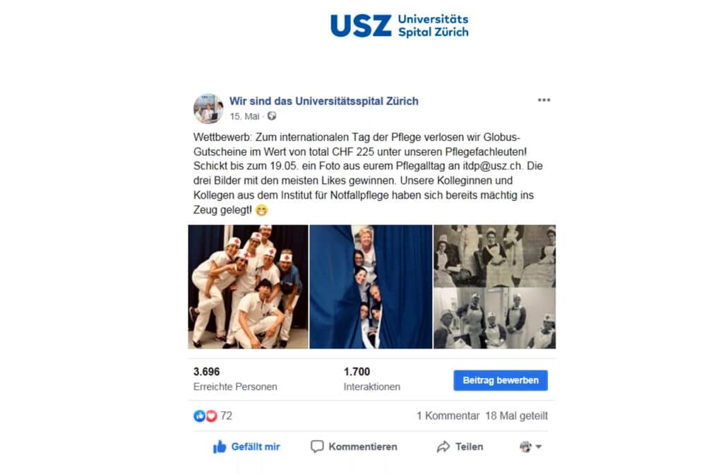 USZ Wettbewerb auf Facebook: Wir sind das Universitätsspital Zürich